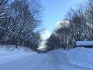 雪の翌朝の峠道